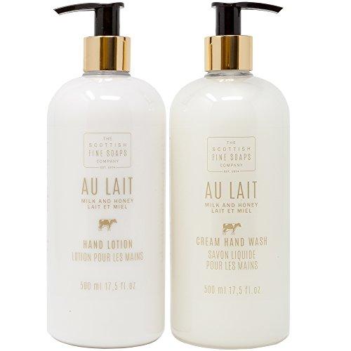 Scottish Fine Soap Au Lait Milk & Honey Cream Hand Wash + Hand Lotion Gift Set | LARGE 17.5 Ounce Each