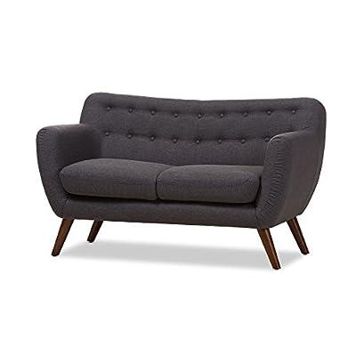 Baxton Studio Jacyline Fabric Upholstered Walnut Wood Button-Tufted 2-Seater Loveseat, Dark Grey