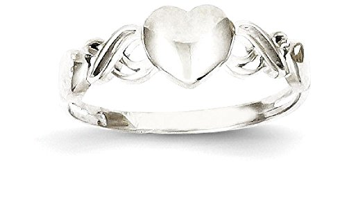 ICE CARATS 14k White Gold Heart Band Ring Size 8.00 S/love Fine Jewelry Gift Set For Women Heart by ICE CARATS