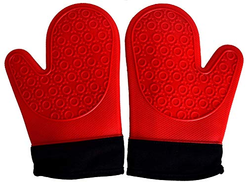 (Extra Large Red/Black Heat Resistant Silicone Oven Mitts)