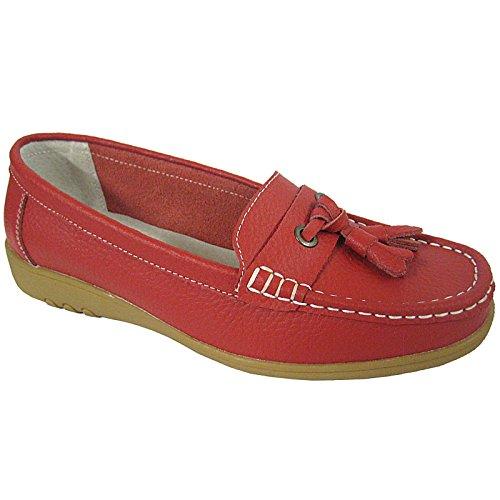 Piel Coolers De Mocasín Smart Rojo Premier Sandalias Flats Ballerinas Loafers Para Mujer qwXwZga4