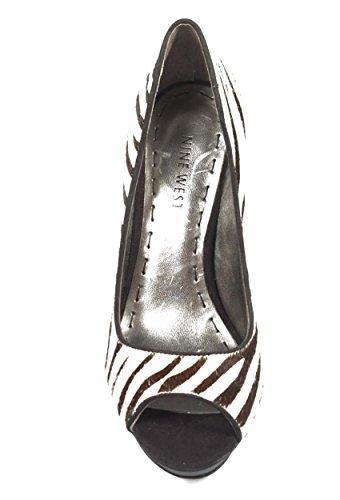 NINE WEST - Zapatos De Tacón Mujer - Pump Punta Abierta NWSTANZER BLKWHT BLK Tacón: 10.5 cm