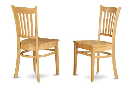 Parsons Chair Wood Finish Chair - East West Furniture GRC-OAK-W Dining Chair Set with Wood Seat, Oak Finish, Set of 2