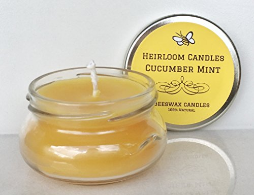 Cucumber Mint Beeswax Candle - Pure Organic Beeswax - Essential Oil Candle - Handmade, 3.3oz