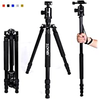 Zomei Z818 65-inch Lightweight Camera Tripod, Aluminum Portable Detachable Monopod, 360 degree Ball Head, 1/4 Quick Release Plate with Carrying Bag for Canon Nikon Sony Load (Black)