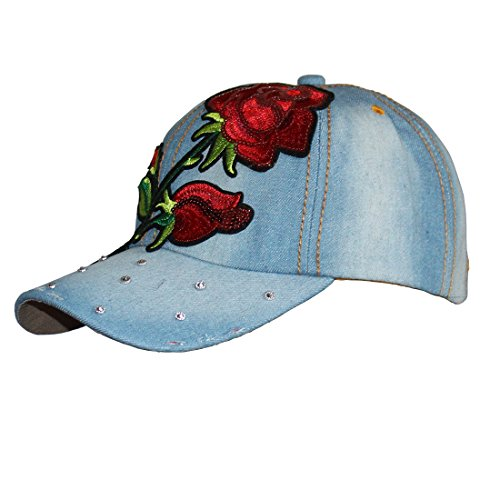 (Denim Stone Washed Twill Cotton Baseball Cap Embroidered Flower & Rhinestone Studded Structured Hat (Red Rose 2# Jean))