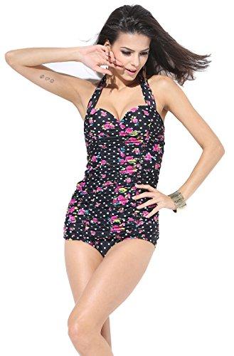 Cocoship 50s Retro Black Vintage Flora Polka One Piece Monokinis Swimsuits S(FBA)