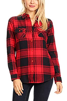 Cyber M0nday Sale Women's Button Down Plaid/Checker Flannel Shirts
