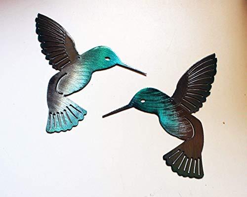 (Hummingbird Teal Pair Metal Wall Art Decor 6
