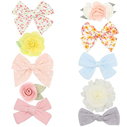 Baby Girls Hair Clips with Bows Flowers,Lined Alligator Fabric Barrettes Baby Hiar Accessories for Newborn Infant Toddler Kids Teens