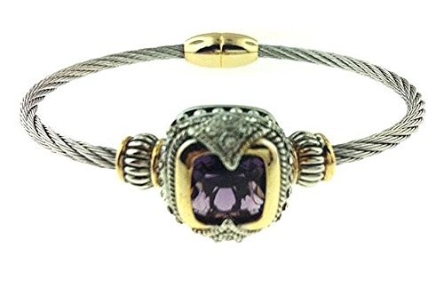 Designer Two Tone Rhodium Plated Cable Wire Twisted Magnetic Clasp Bracelet with Statement Crystal Stone Amethyst Color (Amethyst Cable Bangle)