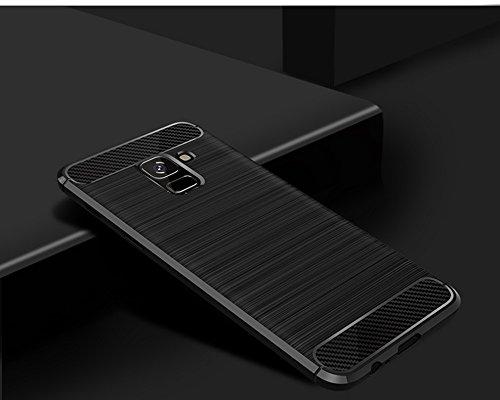Funda Samsung Galaxy A8 2018,Funda Fibra de carbono Alta Calidad Anti-Rasguño y Resistente Huellas Dactilares Totalmente Protectora Caso de Cuero Cover Case Adecuado para el Samsung Galaxy A8 2018 A