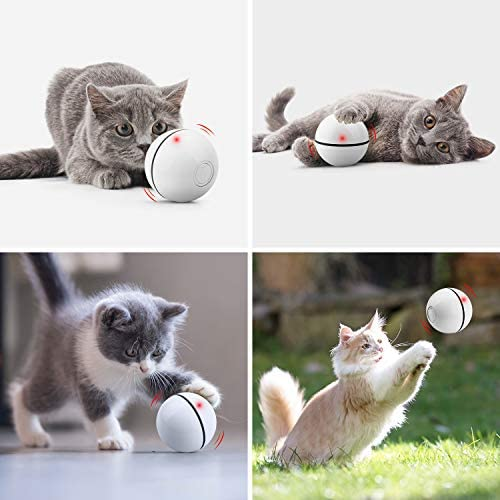 UNZANO Interactive Cat Toys for Indoor Cats with Built-in Red Led Light, USB Rechargeable, Auto Twists and Turns Cat Ball Toy & Chasers to Encourage Your Pet's Exercise, Chasing & Hunting Ability 6