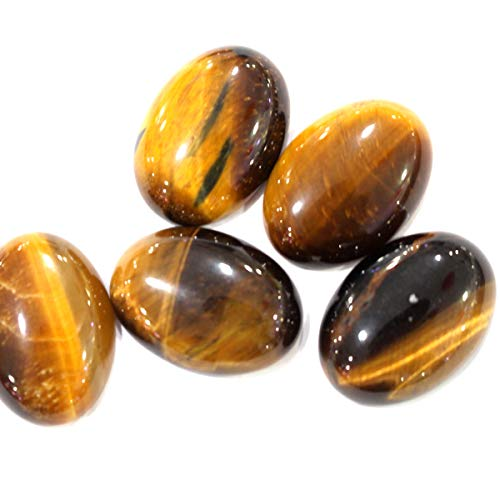 (Icokarl 6pcs Oval 18x25mm Natural Gemstone Cabochons CAB Loose Beads DIY for Pendant Ring Jewelry Making (Tiger's Eye))