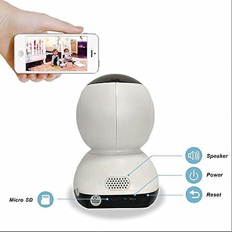 Cámara de vigilancia de electrodoméstico, 720p HD cámara IP, 355 ° Rotación Horizontal, IR-CUT, detector ...