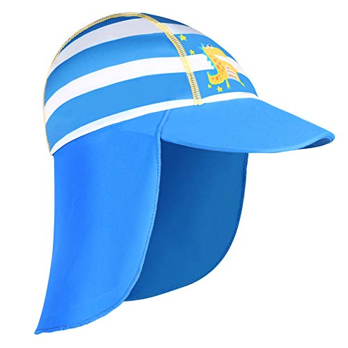HUAANIUE Baby Toddler Sun Protection Hat UPF 50 + Swim Hat Blue 4-6 T