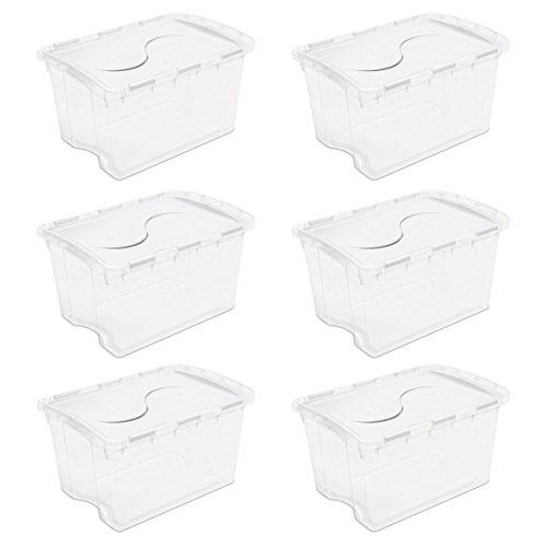 Sterilite 19148006 48 Quart/45 Liter Hinged Lid Storage Box, Clear with White Lid, - Lid Storage Attached