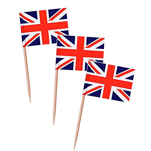 Topoox 100 Pack British Flag Party Cupcake Picks Toothpick Flag Dinner Flags Cake Toppers Decorations -