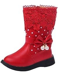 Girl's Waterproof Lace Bowknot Side Zipper Fur Winter Boots (Toddler/Little Kid/Big Kid)