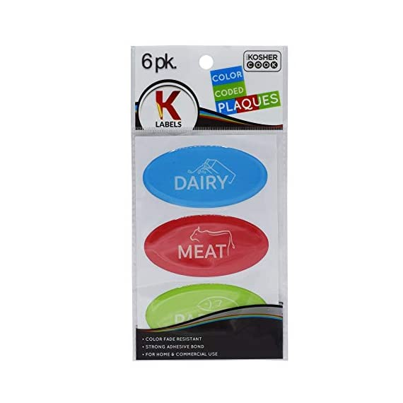 6 Kosher Plaques and Labels - 2 Blue Dairy, 2 Red Meat, 2 Green Parve - Self Adhesive, Color Fade Resistant - Color Coded Kitchen Stickers by The Kosher Cook 1 COOK READY LABELS AND PLAQUES: Your time preparing dinner will be a lot less stressful with our labels that separate your food and plates so you never worry about mixing them again. COLOR CODED KOSHER UTENSILS: Made to make life easier in the Jewish home, separate dairy, meat and parev products with ease color coded and labeled blue, red and green kitchen tools. FOUR DIFFERENT LANGUAGES: Great for essentially every kosher household no matter what language you speak - they come in English, Hebrew, Spanish, and French so everyone can organize easily.