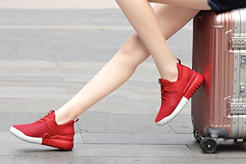 Wearable Breathable Shoes Red Leisure Anti Womens Sports Running Slip Shoes Running DANDANJIE Mesh Breathable Rubber w81XBq0