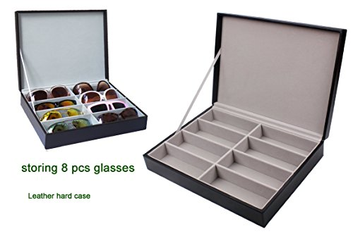 Zowaysoon 8 Grids Sunglasses Storage Organizer Box PU Lether Display Case Watch Jewelry Tray - Really Sunglasses Nice