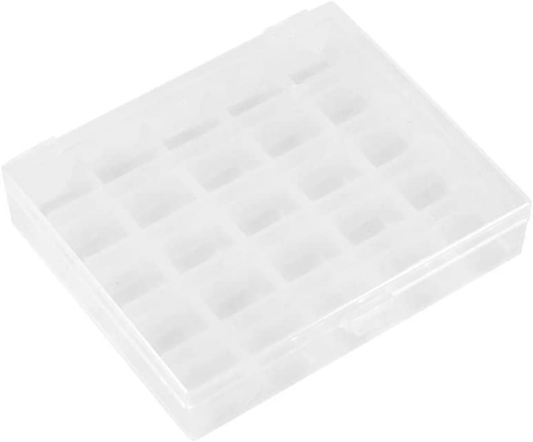 FTVOGUE Caja de Bobinas Máquina de Coser Vacía de Plástico Organizador de Almacenamiento de Canillas Estuche Transparente para 25 Carretes