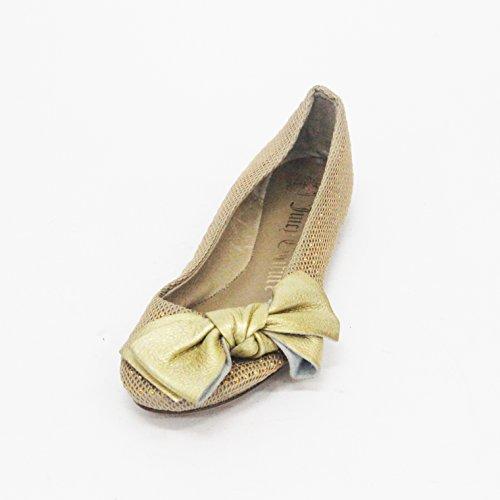 Juicy Couture hermosa Slip On Flats para mujer talla UK 3.5 dorado