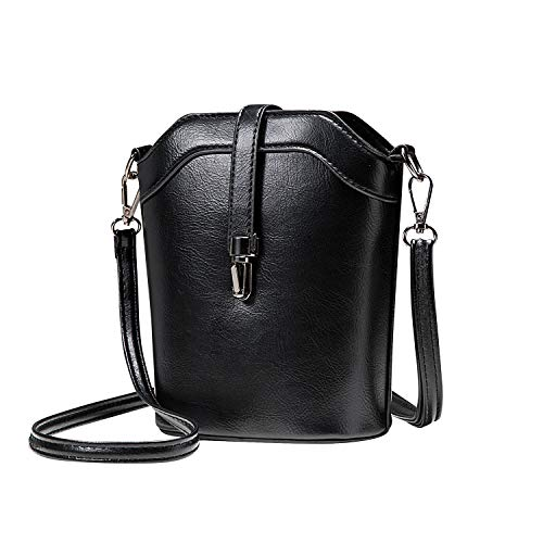 seOSTO Small Bucket Bag, Cell Phone Purse Wallet Leather Crossbody Bag For Women