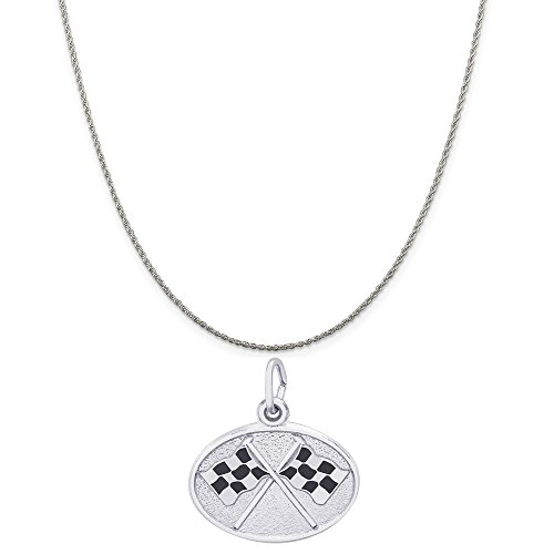 Rembrandt Charms Sterling Silver Enameled Racing Flags Oval Disc Charm on a Rope Chain Necklace, 20