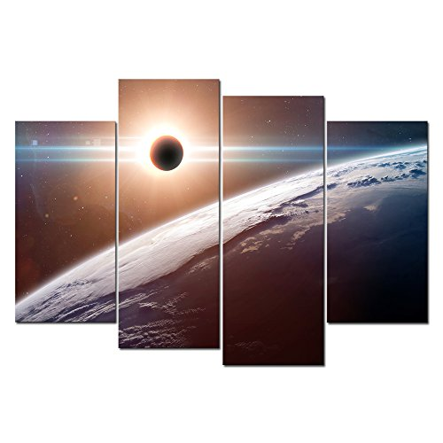 Cao Gen Decor Art-A40538 4 panels Framed Wall Art Moon Blocking SunLight On Planet Earth Printed on (Planet Earth Print)