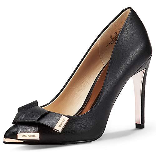 (JENN ARDOR Women's Stiletto High Heel Pumps Pointy Toe Leather Bowknot Slip On Bridal Wedding Shoes Black 10 B(M) US (26.38 CM))