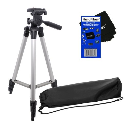 50″ Light Weight Aluminum Photo/Video Tripod&Carrying Case for Nikon Coolpix S3500, S5200, S6300, S6500, S6800, S9400&S9500 Digital Cameras w/ HeroFiber Ultra Gentle Cleaning Cloth