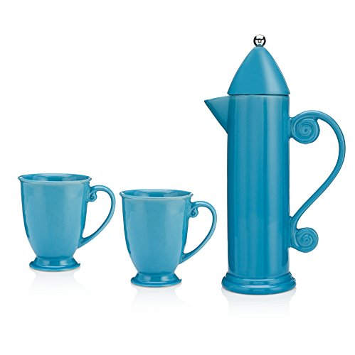 Francois et Mimi Ceramic French Press for Coffee and Tea, 27oz, Comes with 2 Large-Sized Ceramic Cups, Mugs (Blue)