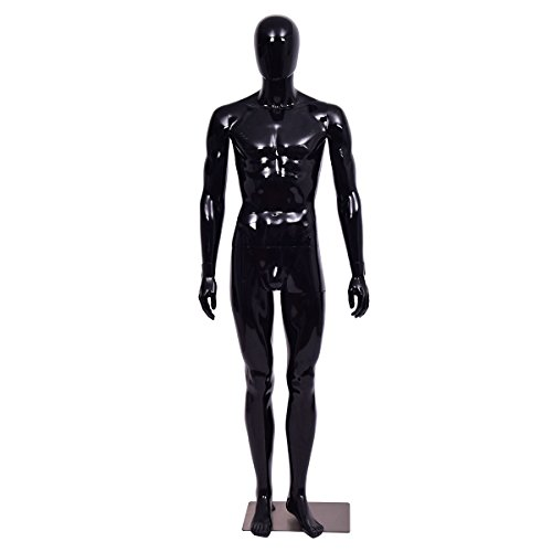 Giantex Male Mannequin Egghead Plastic Full Body Dress Form Display High Gloss Black