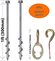 GROUNDGRABBA Ground Anchor Screw Kit - Hexhooks & 1 Ft Ground Anchors Heavy Duty for High Winds | Ground A