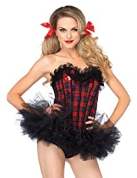Leg Avenue Women's Easy A Plaid School Girl Corset Costume Accessory, Red, Medium