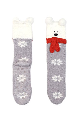 Womens Cute Lovely Animal Friends Non Slip Fuzzy Winter Socks Hy 012  Grey Hy 0127