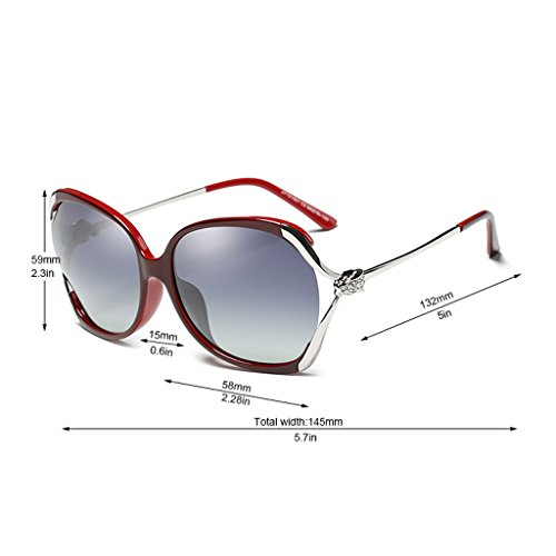 Off Fashion Gafas polarizadas Sol Driving Rhinestones White Frame Sunglasses de Red Color TangMengYun Big qawpZ