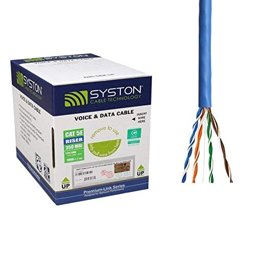 Cat5e Bulk Cable 1000ft Pure Copper, Outdoor/Indoor Heat Resistant, Solid 350Mhz, 24AWG, UTP, Riser Rated CMR, Blue by Syston Cable