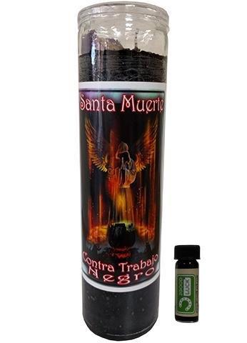 Holy Death Hex Breaker Dressed Scented Candle - Veladora Preparada Santa Muerte Contra Trabajo Negro by Victoria Rey