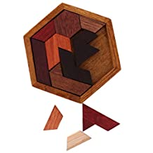 MonkeyJack Classic Wooden Puzzle Toy Brain Teaser Game Geometric Shape Puzzle Kids Educational Toys