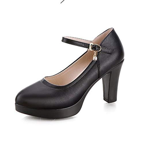 Talons couleur Taille Haut Épais Professionnelles Pour Noir Talon Chaussures Fr De Travail Noir 38 Femmes À TxBfXf