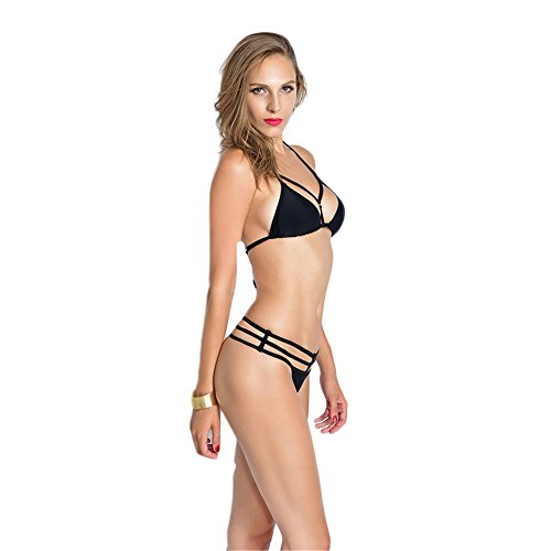 Dabag- Mujer Sling Bañador de Dos Piezas Conjuntos Hueco Push Up Braguitas Bikini Negro
