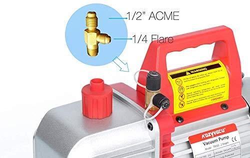 Kozyvacu 5CFM 2-Stage Rotary Vane Vacuum Pump (5.0CFM, 40Micron, 1/2HP) for HVAC/Auto AC Refrigerant Recharging, Degassing wine or epoxy, Milking cow or lamb, Medical, Food processing etc. by Kozyvacu (Image #1)
