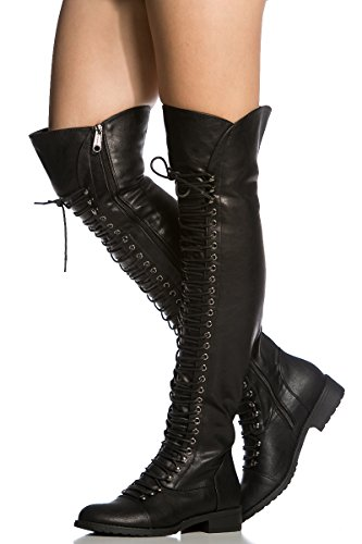 Womens Flat Pirate Boots (Over the Knee Lace Up Riding Faux Leather Thigh High Combat Boots Black)