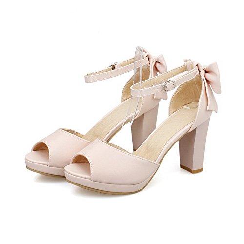 Allhqfashion Womens Peep Toe Hoge Hakken Zacht Materiaal Stevige Gesp Hakken-sandalen Roze