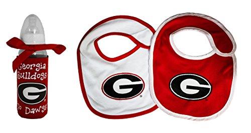 NCAA Georgia Bulldogs Infant Bottle and 2 Pack Bib (Georgia Bib)