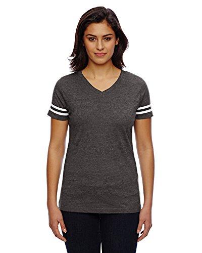 Lat Vintage V-Neck Collar Football T-Shirt_Vintage Smoke/ Blended White_XX-Large Cotton V-neck Football Tee