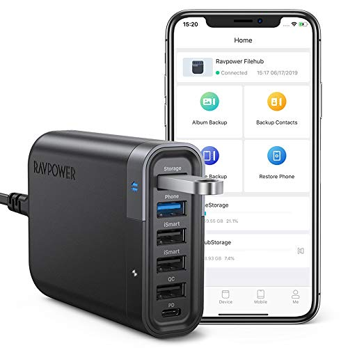 RAVPower USB C Wall Charger 60W 6 Port with Quick Charge 3.0, Backup Function and iSmart Multiple Port, 24W Power Delivery Desktop USB Charging Station Filehub for Phone and - Phone 60